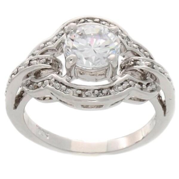 Simon Frank Silvertone Cubic Zirconia and Crystal Art Nuvo Fashion Ring