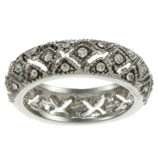 Simon Frank Silvertone Crystal Open Filigree Eternity Band