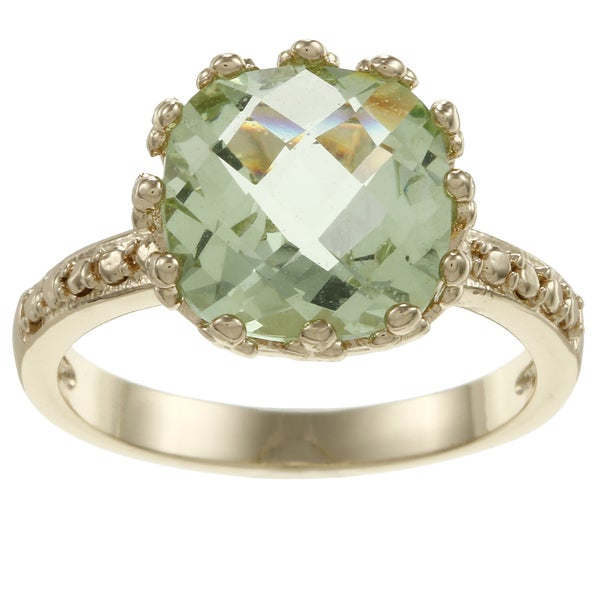 Simon Frank Gold Tone Fancy Cut Oval Light Green CZ Ring