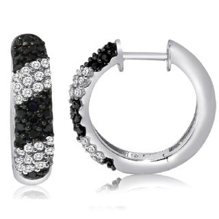 Sterling Silver 1/2ct TDW Black and White Pave Diamond Hoop Earrings (H-I, I1-I2)