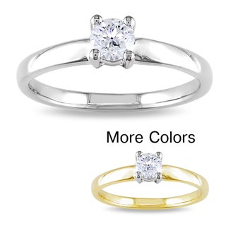 Miadora 14k Gold 1/3ct TDW Diamond Solitaire Engagement Ring (G-H, I1-I2)