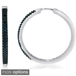 Sterling Silver 1/2ct TDW Black or Blue Diamond Hoop Earrings