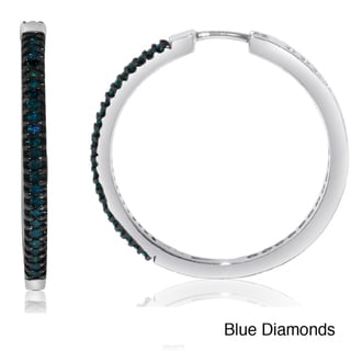 Sterling Silver 1/2ct TDW Black or Blue Diamond Hoop Earrings