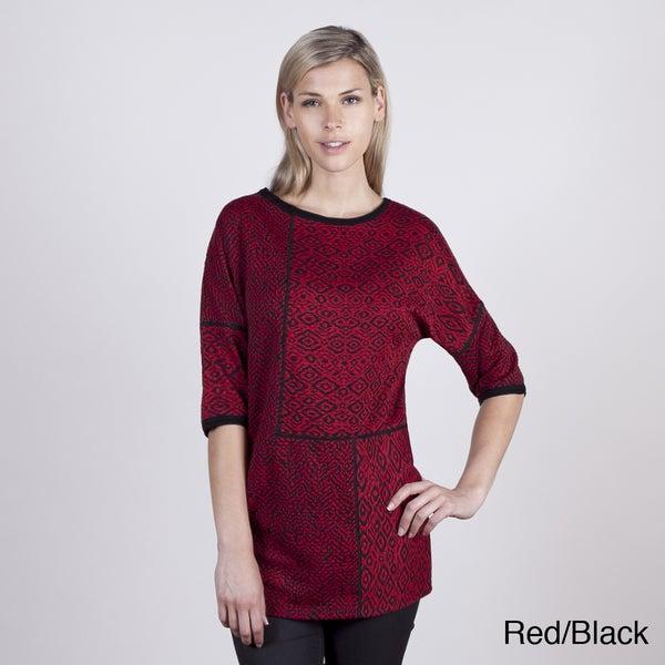 Colour Works Women's Patchwork Detail w/Zigzag Stitch Drop Shoulder Tunic