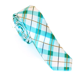 Skinny Tie Madness Men's White and Light Blue Plaid Tie