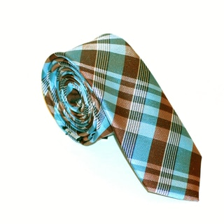 Skinny Tie Madness Men's Blue and Brown Plaid Tie