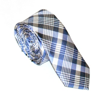 Skinny Tie Madness Men's Blue Plaid Tie
