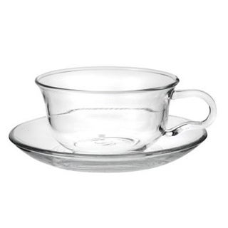 Tea Beyond Hand Crafted 5-Ounce Glass Teacups & Saucers (Set of 2)