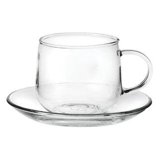 Tea Beyond Glass 6.8 Ounce Teacups and Saucers (Set of 4)