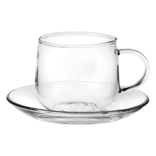 Tea Beyond Glass 6.8 Ounce Teacups and Saucers (Set of 4)