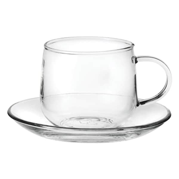 Tea Beyond Hand-Crafted 6.8-Ounce Glass Teacups & Saucers (Set of 2)