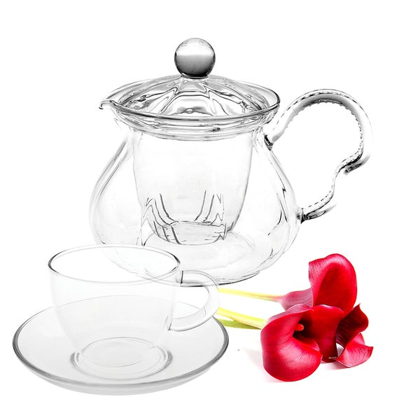 Tea Beyond Hand Crafted Glass Non-dripping Teapot Fairy Gift Set