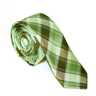 Skinny Tie Madness Men's Green and Brown Plaid Tie