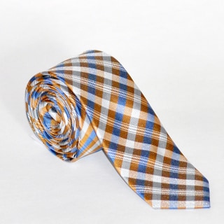 Skinny Tie Madness Men's Orange and Blue Plaid Tie