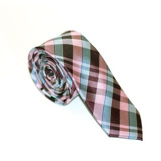 Skinny Tie Madness Men's Pink and Teal Plaid Tie