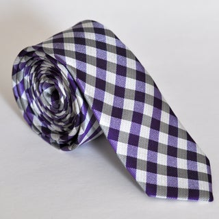 Skinny Tie Madness Men's Purple Gingham Plaid Tie