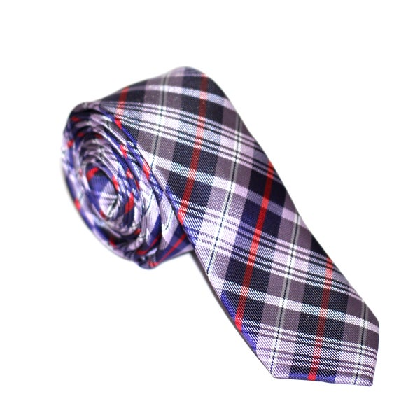 Skinny Tie Madness Men's Purple and Red Plaid Tie