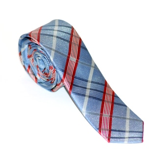 Skinny Tie Madness Men's Blue and Red Plaid Tie