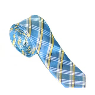 Skinny Tie Madness Men's Light Blue and Yellow Plaid Tie