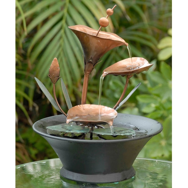Metal Flower Table Top Fountain