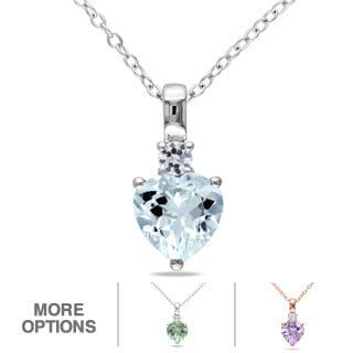 Miadora Sterling Silver Gemstone and White Sapphire Heart Necklace