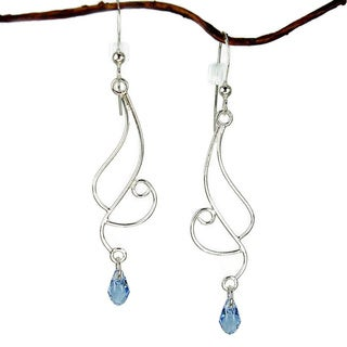 Long Curved Sterling Silver Earrings With Blue  Crystal
