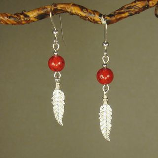 Jewelry by Dawn Red Riverstone With Feather Sterling Silver Earrings