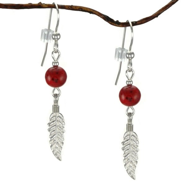 Handmade Jewelry by Dawn Red Riverstone With Feather Sterling Silver Earrings 10341589