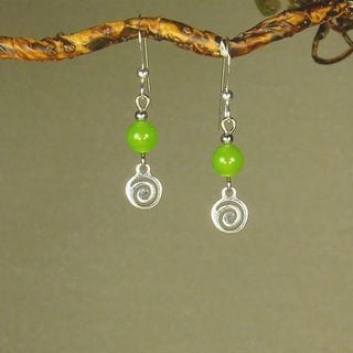 Lime Green With Silver Swirl Drop Earrings