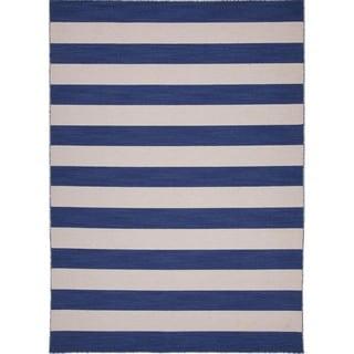 Handmade Flat-weave Blue Stripe Wool Area Rug (8' x 10')
