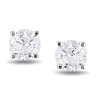 14k White Gold 1ct TDW Diamond Stud Earrings (J-K, I2-I3)