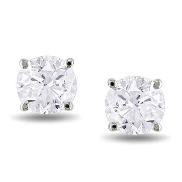 Miadora Signature Collection 14k White Gold 1ct TDW Diamond Stud Earrings (J-K, I2-I3)