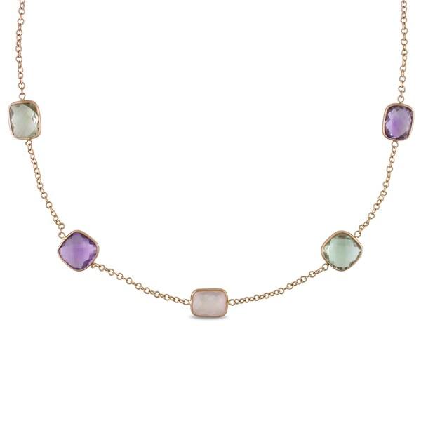 Miadora 18k Rose Gold Amethyst and Quartz Necklace