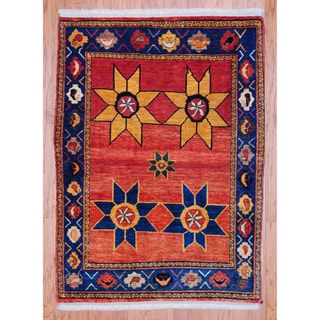Persian Hand-knotted Tribal Bidjar Red/ Navy Wool Rug (3'5 x 4'9)