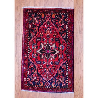 Persian Hand-knotted Tribal 1960's Bakhtiari Red/ Navy Wool Rug (2'10 x 4'5)