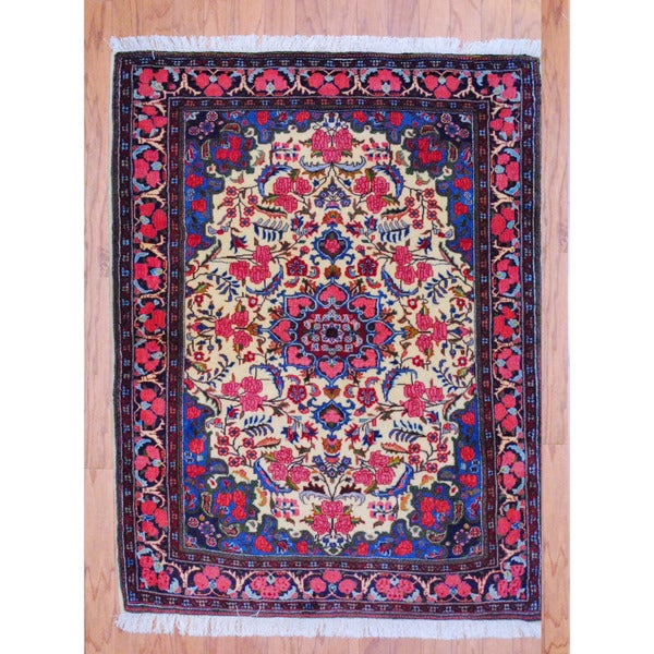Persian Hand-knotted Tribal Bidjar Ivory/ Navy Wool Rug (3'7 x 4'8)