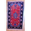 Persian Hand-knotted Tribal 1960's Hamadan Red/ Navy Wool Rug (3' x 5'6)