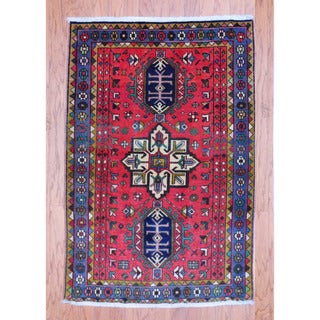 Persian Hand-knotted Tribal 1970's Hamadan Red/ Navy Wool Rug (3'2 x 4'9)