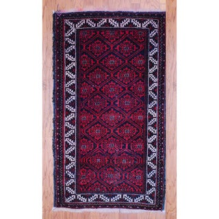 Persian Hand-knotted Tribal 1940's Balouchi Red/ Black Wool Rug (3' x 5'2)