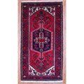 Persian Hand-knotted Tribal 1960&#39;s Hamadan Red/ Navy Wool Rug (3&#39;3 x 6&#39;2)