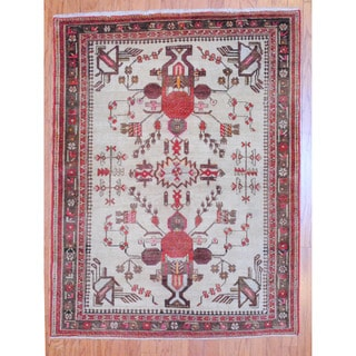 Persian Hand-knotted Tribal 1960's Tabriz Beige/ Red Wool Rug (4' x 5'2)