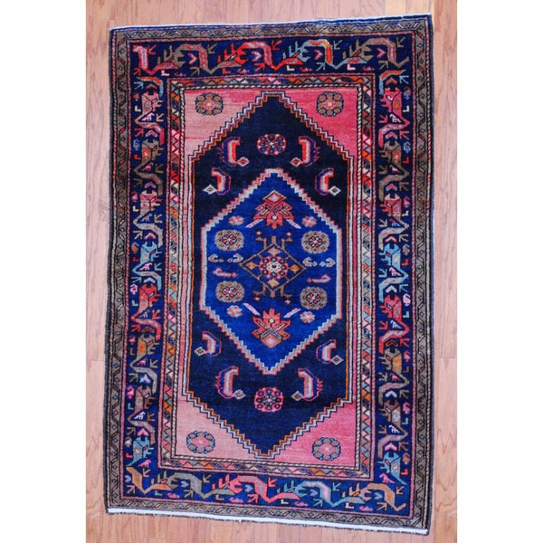 Persian Hand-knotted Tribal 1950's Tabriz Navy/ Salmon Wool Rug (3'8 x 5'6)