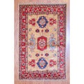 Afghan Hand-knotted Tribal Kazak Beige/ Red Wool Rug (3'3 x 5'3)
