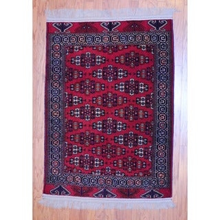 Afghan Hand-knotted Tribal 1960's Turkoman Rust/ Black Wool Rug (3' x 5'2)