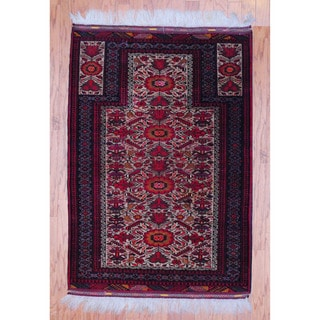 Afghan Hand-knotted Tribal Balouchi Red/ Black Wool Rug (3'4 x 5')