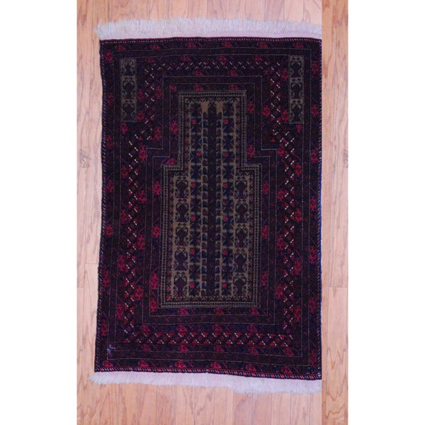 Afghan Hand-knotted Tribal Balouchi Red/ Light Brown Wool Rug (3' x 4'6)