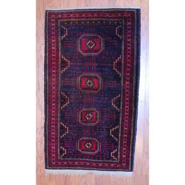 Afghan Hand-knotted Tribal Balouchi Black/ Red Wool Rug (3' x 5'2)