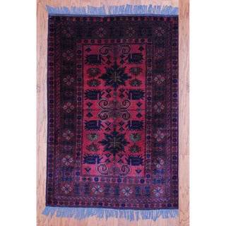 Afghan Hand-knotted Tribal Khal Mohammadi Rust/ Navy Wool Rug (3'3 x 4'9)