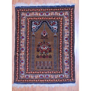 Afghan Hand-knotted Tribal Balouchi Light Brown/ Red Wool Rug (3'9 x 5')