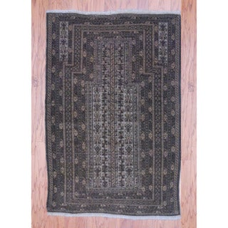 Afghan Hand-knotted Tribal Balouchi Beige/ Light Brown Wool Rug (3'1 x 4'7)